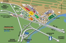 oversigtskort over Nice lufthavn